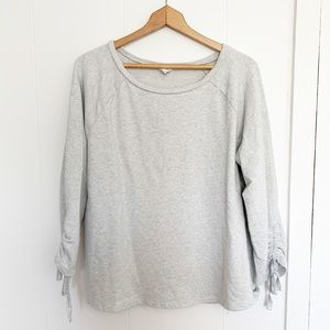 Loft lounge grey tie sleeve sweatshirt L